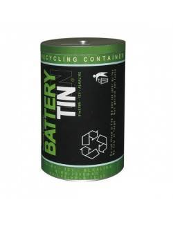 Contenedor reciclaje pilas lata